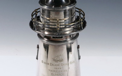 SILVER-PLATED LIGHTHOUSE FORM COCKTAIL SHAKER