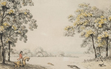 Samuel Howitt, British 1756-1822- Coursing a Hare; pen and grey...
