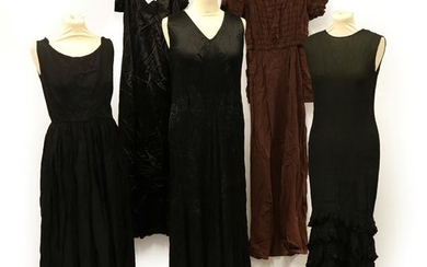 Five Circa 1930's and Later Evening Dresses, comprising a black...