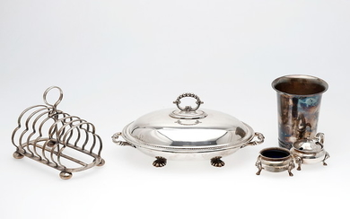 Several Danish and English items in silver-plated metal, 20th Century.