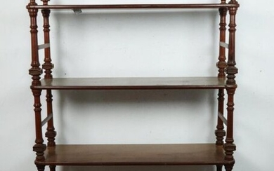 Shelf in mahogany and mahogany veneer, with four shelves, the uprights in turned wood