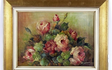 Signed R Laugier, Still life with roses, canvas