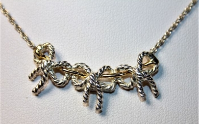 Silver, Yellow gold - Tiffany & Co. 3 Ribbon Necklace 925 Silver 750 Yellow Gold