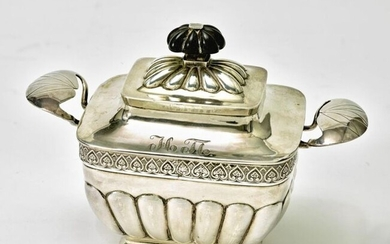 Silver gilt sugar bowl with lid. Unidentified master,...