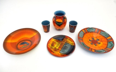 Six items of 20thC Poole Pottery, to include vase