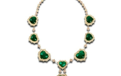 Stambolian Colombian Emerald Gold and Diamond Necklace