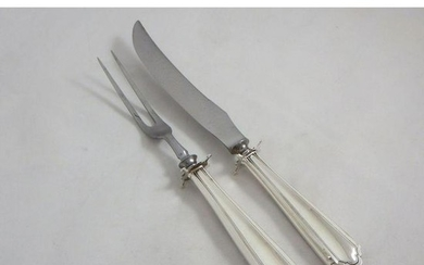"""Sterling Silver HH Carving Set """"Hamilton"""" by Alvin"""