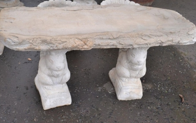 Stone 'Timber' Seat - large straight timber look seat on squ...