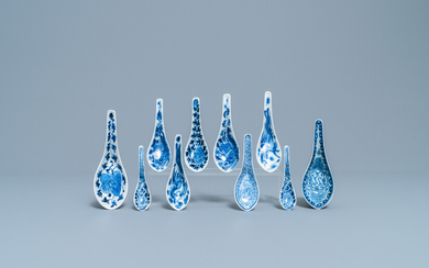 Ten Chinese blue and white spoons for the Straits or Peranakan market, 19/20th C.
