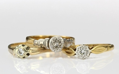 Three 18ct yellow gold diamond solitaire rings, total weight...