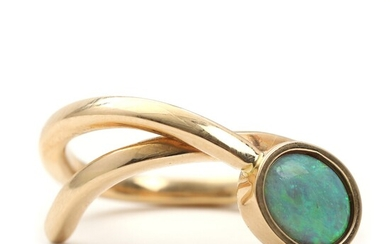 SOLD. Toftegaard: Opal ring set with polished opal, mounted in 14k gold. Size 55. –...