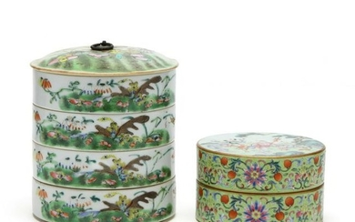 Two Chinese Stacking Porcelain Food Containers