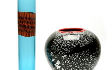 Two Contemporary Studio Glass Vases, Signed.