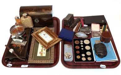 Two cased Parker pens, a set of sovereign scales, various...