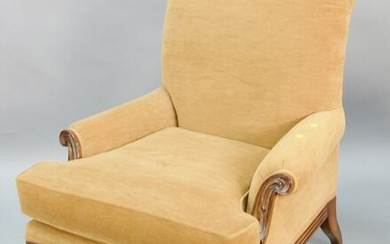 """Upholstered club chair having high back, ht. 42"""", wd."""