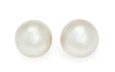 SOLD. V. Holmstrup: A pair of Mabé pearl ear clips each set with a cultured...