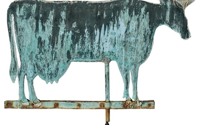 VERY FINE AND LARGE AMERICAN MOLDED SHEET-COPPER AND ZINC COW WEATHERVANE, CIRCA 1880