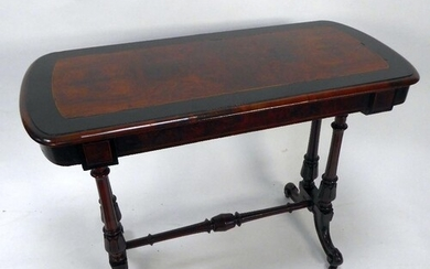 VICTORIAN BURR WALNUT AND EBONISED OCCASIONAL TABLE, the rou...