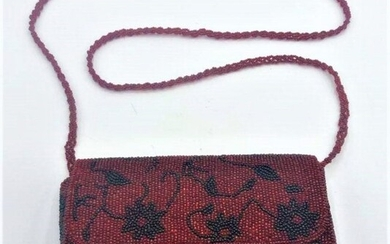 Vintage Red and Black Beaded Clutch Purse with Strap