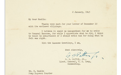 "(WORLD WAR II.) PATTON, GEORGE S. Typed Letter Signed, ""G.S. Patton Jr.,"" to magazine publisher Herbert Hamlin."