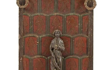 Wooden carved & nbsp; monastery panel polychrome