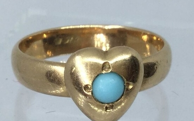Yellow gold - Ring - 0.10 ct Turquoise