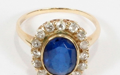 10KT GOLD DIAMOND IOLITE RING SIZE 7.25 T.W. 4.4 GR