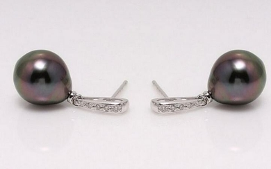 14 kt. White Gold - 9x10mm Peacock Tahitian Pearls