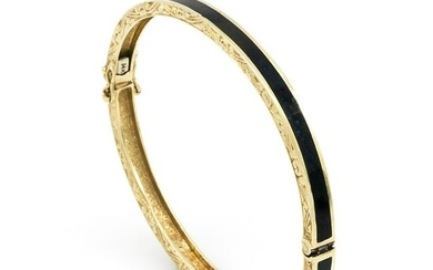 14k Yellow gold & black enamel Victorian bangle
