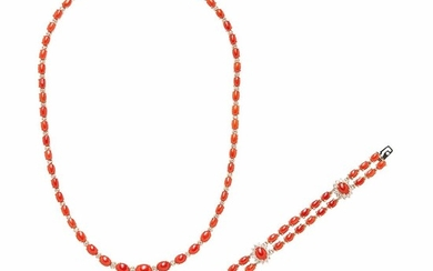 14kt Gold, Coral, and Diamond Necklace and Bracelet