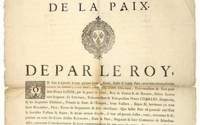 """1739. CAEN (14). """"ORDER OF PEACE"""" between LOUIS XV and Emperor CHARLES VI (The Treaty of VIENNA (1738), put an end to the War of Succession of POLAND). Done at VERSAILLES (78) on 28th May 1739 """"It is made known to all, that a good, firm, stable &..."""