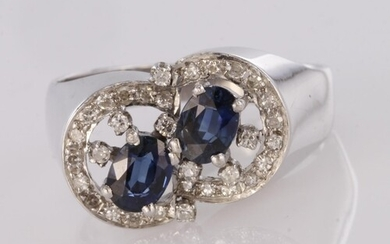 18ct white gold sapphire and diamond double offset cluster d...
