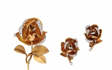 18kt Gold and Diamond Brooch and Earclips