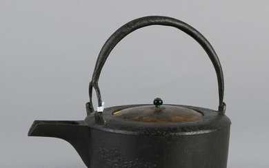 18th century Chinese cast iron kettle with copper lid