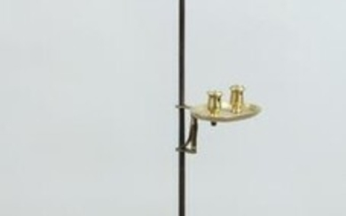 18th century wrought iron and brass candle stand