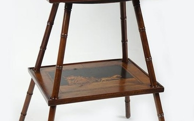 19TH-CENTURY SWISS WALNUT AND MARQUETRY TABLE