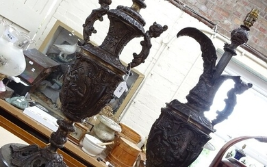 2 Renaissance style patinated brass lamps, comprising conver...