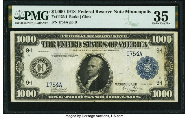 20068: Fr. 1133-I $1,000 1918 Federal Reserve Note PMG