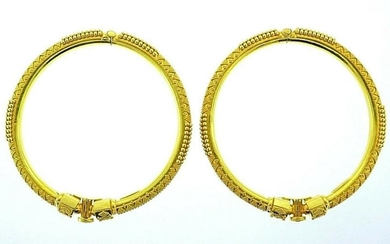 22k Yellow Gold Pair of Engraved Vintage Bangles