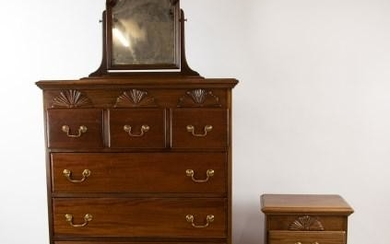 Mahogany Chest of Drawers, Night Stand & Mirror