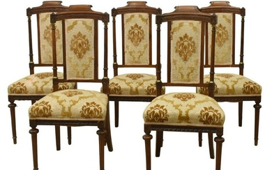 (5) LOUIS XVI STYLE UPHOLSTERED DINING CHAIRS