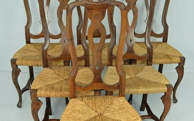 """6 Antique Country Italian """"Emilian"""" Side Chairs"""