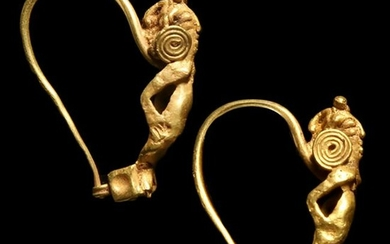 Roman Pair of Gold Earrings with Cupids, c. 1st Century