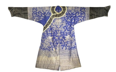 A CHINESE BLUE GROUND EMBROIDERED SILK 'DRAGON' RO…