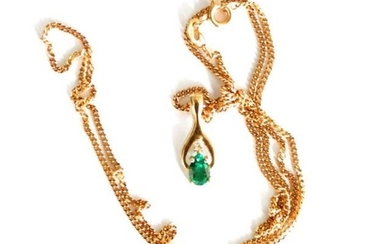 9ct yellow gold pendant and chain set with synthetic gemston...
