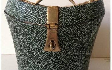 A 20TH CENTURY FAUX SHAGREEN AND BRASS BOUND CURVED BOX Appl...