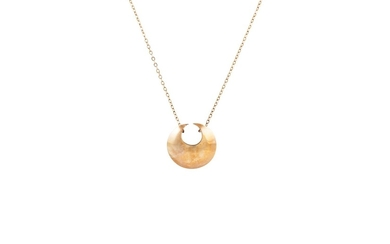 A 9CT YELLOW GOLD CRESCENT PENDANT, on gold trace chain, 2gm...