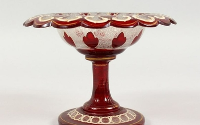 A BOHEMIAN RUBY GLASS TAZZA, with gilt decoration.