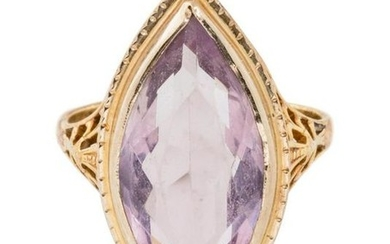 A Bicolor Gold and Amethyst Ring,