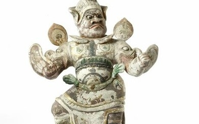 A CHINESE PAINTED POTTERY GUARDIAN, TANG DYNASTY